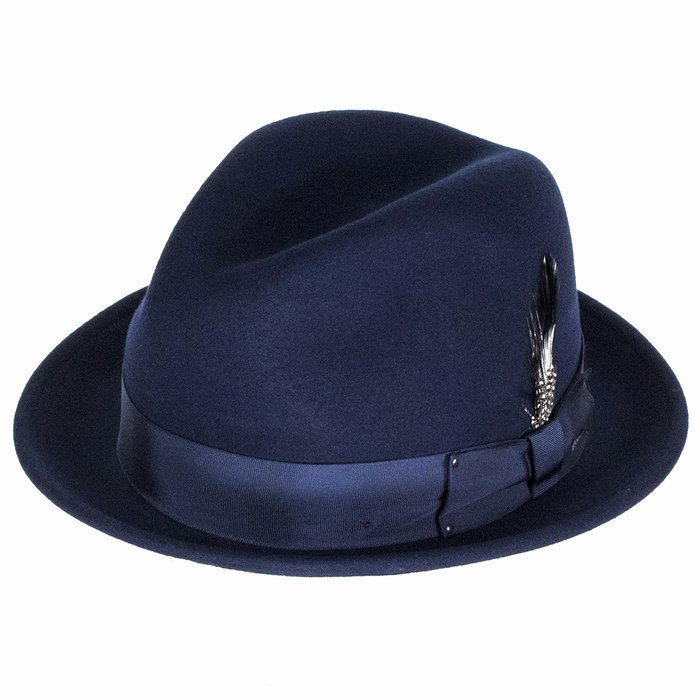 Bailey Hats Tino Crushable Felt Trilby Hat - Navy 0800786e829