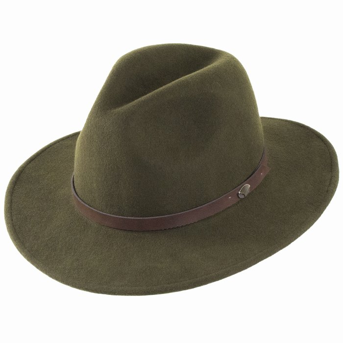 Christys  Hats Crushable Safari Fedora - Green 0ab99492bf3