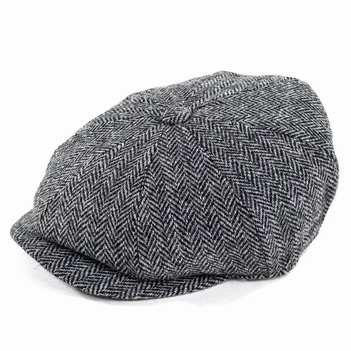 82f46b04585 Failsworth Hats Carloway Harris Tweed Bakerboy Cap - Black White