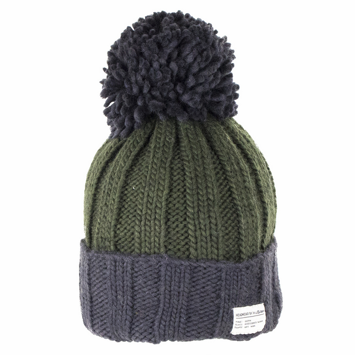 b16bf1b8210 Kusan Accessories Bobble Hat with Turn Up - Charcoal Green