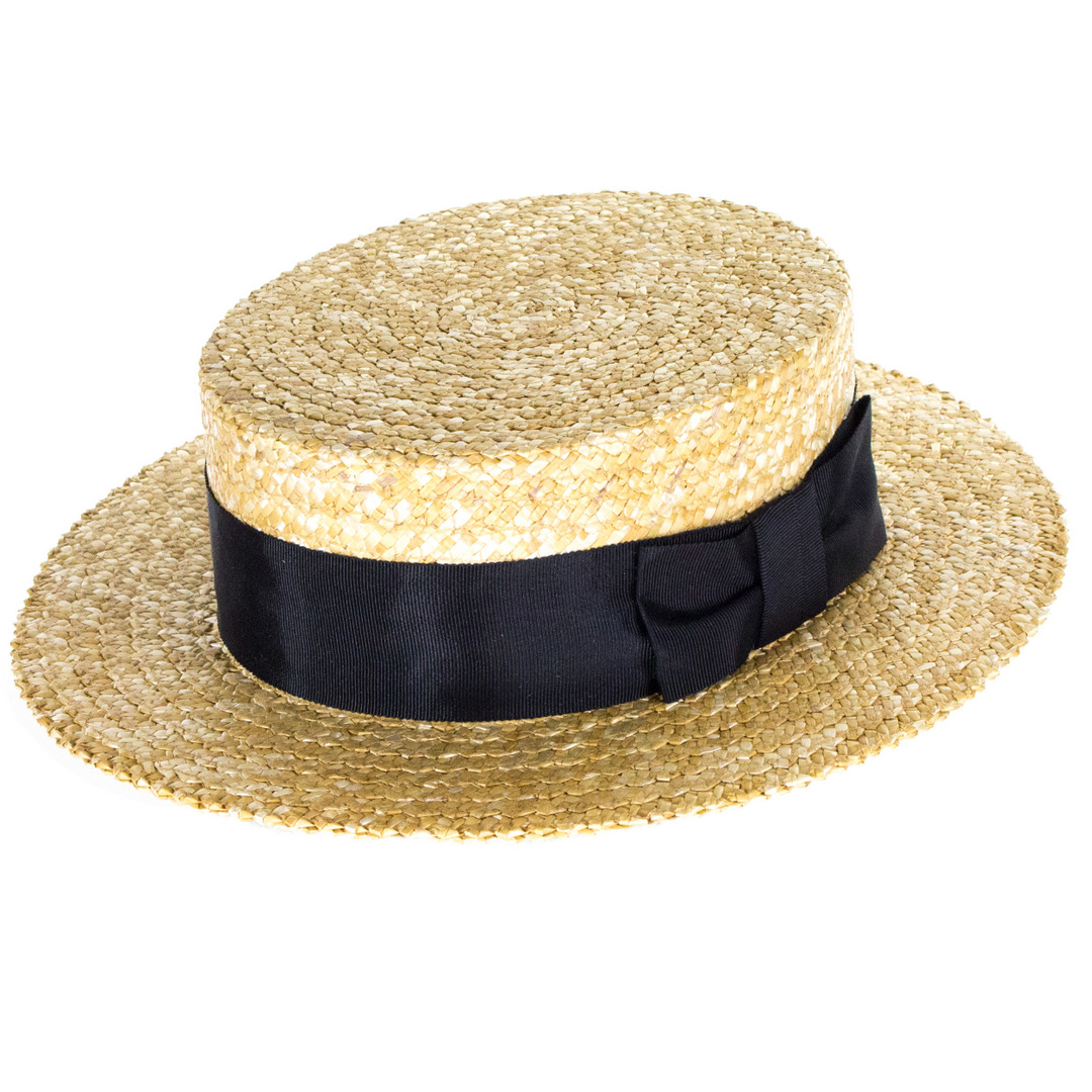 aeed7bc49 Olney Headwear Classic Straw Boater - Black Band | The Hat Place