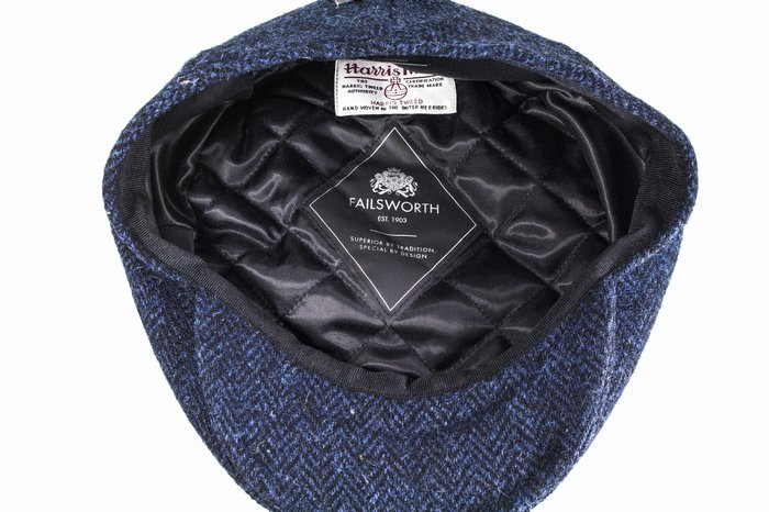 45dcc4aa23d Failsworth Hats Harris Tweed Cap - Navy Black